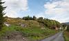 Øyjord, bygging av Håloglandsbrua, Riving av hytter som kommer i byggesone og i støysone. situasjon pr 5. september 2013.