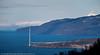 Foto fra Mellomriksveien og ut Ofotfjorden. Nordre brutårn til høyre på Øyjordsiden. Foto 26. april 2016, før kablene strekkes. Bak til høyre husene i Veggen og de gamle Loran C-mastene.