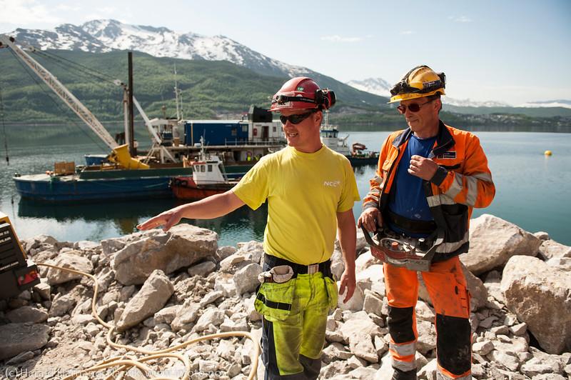 NCC bygger Hålogalandsbrua. Foto 6. juni 2014, Øyjord.