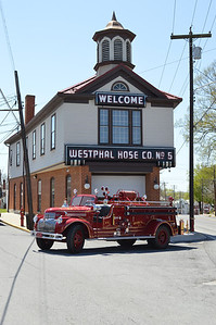 Martinsburg's antique engine in front of the old Westphal Hose Company station.