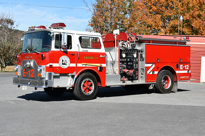 Although marked Engine 12, the numbering system changed in Allegany County however this CF stayed the same.  Engine 432 is a 1974 Mack CF685F/1994 Pierce with a 1000/500.  It carries Mack s/n 1677 and Pierce rehab number F3110.  The CF was originally delivered to Martinsburg, West Virginia where it ran as Engine 3.  Orleans purchased the Mack in approximately 2003.
