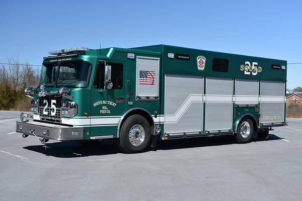 Inwood, West Virginia - Berkeley County Squad 25 - a 2018 Spartan Gladiator/SVI  250/300 with serial number 1049.  Driver side shows the U.S. flag, with the West Virginia state flag on the officer side.