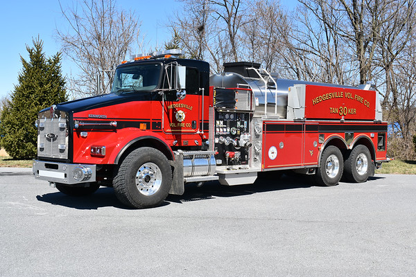 Tanker 30 as photographed in March of 2019 while being prepared for service.  It is a 2018 KenWorth T800/2019 Pierce equipped with a  1500/3000 and Pierce job number 32643.  This is the first black over red for Hedgesville.