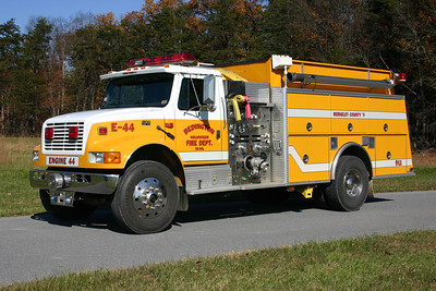 Tanker 44 (marked as Engine 44) is this 1994 International 4900/KME, 1000/1500, sn- GSO 2312.  One of three purchased by the County.