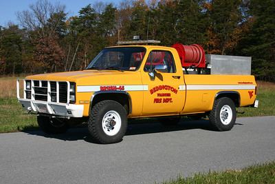 Brush 45 is a 1985 Chevy/FD, 280 gallon water tank.  Skid purchased from Williamsport, Maryland.  ex - Military and Berkeley County Sheriff's.