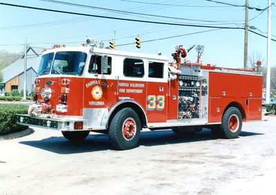Former Engine 33, a 1978 Seagrave PB/1987 Pierce, 1500/500.