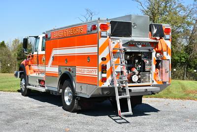 Baker Heights, WV in Berkeley County - Engine 61 - a 2017 International 7400 4x4/Rosenbauer Timberwolf with a 1250/750/30.  Rear mount pump.