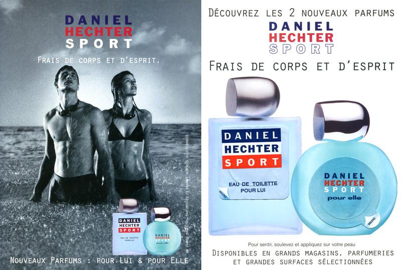 HECHTER Sport 1999 France (recto-verso card with 2 scent stickers 13 x 17,5 cm) 'Frais de corps et d'espriit'