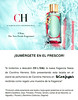 CAROLINA HERRERA CH L'Eau 2017 Spain (El Corte Inglés stores recto-verso promo card 8,5 x 5,5 cm) 'The new fresh fragrance - ¡Sumérgete en el frescor!'