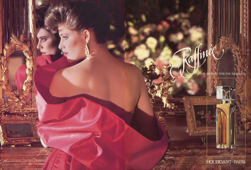HOUBIGANT Raffinée 1985 US spread 'The instinct for the exquisite'