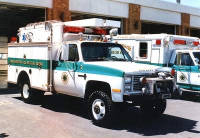 Former Rescue 2, a 1984 Chevy/Pierce.  Sold to Capon Springs, West Virginia.
