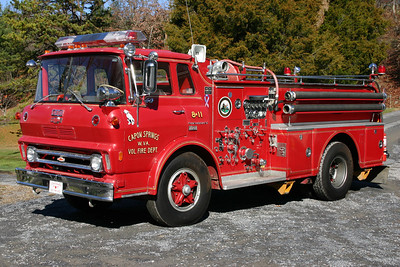 Former Engine 8-11 was a 1968 Chevrolet/Oren, 750/500, sn- 3501.  ex - Petersburg, West Virginia.