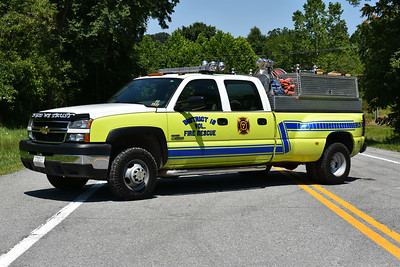 Brush 7-1 from District 16 VFC is this 2006 Chevrolet 3500/1995 M&W skid complete with a 250/200.  Received in 2013, this truck originally ran from the Romney, WV fire department and was painted red and white.