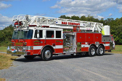 Romney Truck 1 was originally delivered to Ft. Meade, Maryland where it was painted lime green and white.  It was one of five delivered.  1991 Pierce Arrow 105' 1000/300/30 and rehabbed by Pierce in 2003, where it was painted red and white (E-5935-03 with rehab number F-5021).  It also served at Mt. Weather, Virginia. Sold to Romney, WV in September of 2014.