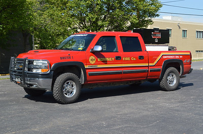 Brush 1 from Romney is a 2001 Chevrolet 2500 with an older skid unit from the department's 1990 Chevrolet, which was sold.  It carries 200 gallons of water.  Former Special Unit 1.