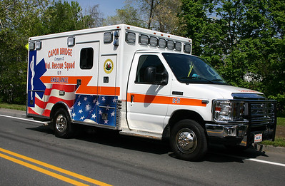 Ambulance 12-71 is this patriotic 2012 Ford E-350/U.S. Coach Works.