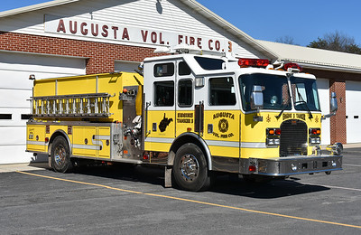 Augusta, West Virginia's Engine-Tanker 3 was received in 2016.  It is a 2002 KME Excel 1750/1800 with KME number GSO 5059.  It was originally delivered to the Keystone Steam Fire Engine Co. 1 in Boyertown, PA.