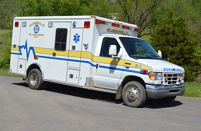 Two ambulances in service at Slanesville.  5-1 is a 2000 Ford E Super Duty/Wheeled Coach.  Destroyed in a wreck in 2017.