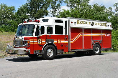 "Slanesville's ""new"" Rescue Engine 5 was purchased by the department in January of 2017 and replaced the department's 2004 HME Silver Fox, which was sold to a broker in 2016.  This 2007 American LaFrance Eagle has a pump and tank, 1500/750/50/60.  The pump panel is located in the rear drivers side roll up door and cross lays are found in the first roll up compartment doors.  The American LaFrance was originally delivered to the Fairview TWP, PA fire department in York County, where it ran as Rescue 68."