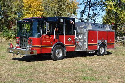 "Levels VFD first black over red fire truck, a 2004 HME/Ahrens Fox.  It is a SilverFox model, equipped with a 1500/1250 and carries serial number 118062.  This truck runs as ""Engine 6"" although the old county numbering system of ""6-13"" still adorns the truck."