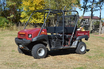 UTV 6 primarily supports large outside fires, and the extra seating in the rear proves valuable.  This 2010 Kawasaki 4x4 has a small 15/25 pump and water and also carries some saws and other equipment.