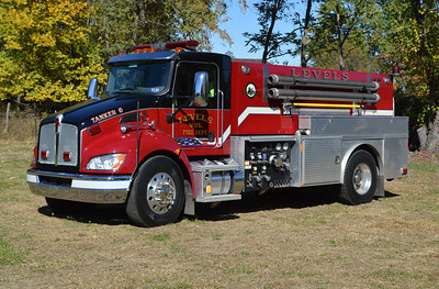Levels, West Virginia Tanker 6, a compact 2011 Kenworth T370/Crimson tanker equipped with a 500/2000 and serial number 10193.
