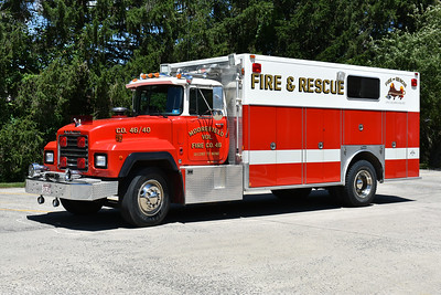 Squad 46 for Moorefield is this 1993 Mack RD690P with a Marion squad body.  It carries Hurst tools, a 4 bottle cascade, and HAZMAT equipment.  Marion serial number 47929.