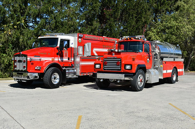 Old and new at Moorefield - Tanker 46's.  On the left is the 2017 KW T800/Pierce with a 750/3000 and on the right is a 1991 Mack RD/1983 4-Guys 500/2000.  The Mack was for sale when photographed.