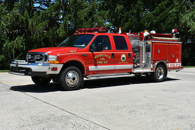 Moorefield's Attack 46, a 1998 Ford F550 4x4/Pierce with a 500/250.  Assigned Pierce job number EC064.  Note the light stick on the front bumper.  Photographed in June of 2017.