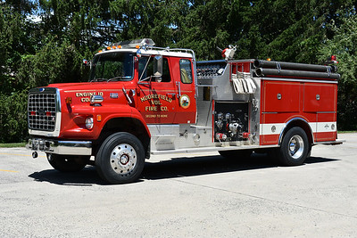 Engine 46-2 from Moorefield, WV in Morgan County is this 1986 Ford L9000/Pierce with a top mount 2000/1000 and job number E2910.  Photographed in June of 2017.