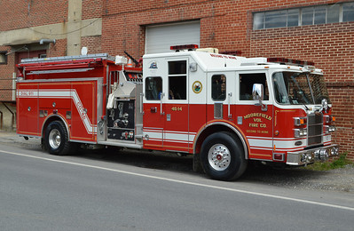 Moorefield, WV - Hardy County.  Rescue Engine 46, a 2003 Pierce Lance top mount 2000/1000/30 with job number 14118.  Photographed at the 2014 Apple Blossom.