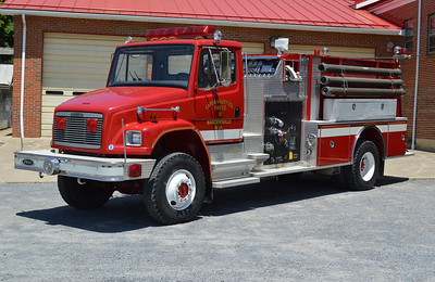 Capon Valley VFC in Wardensville, WV - Engine 218 - a 1994 Freightliner 80/Pierce top mount 1000/1000.  Job number E8503.