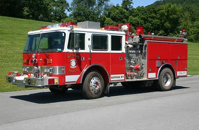 Mathias-Baker, WV in Hardy County.  Engine 4-14 is a 1988 Pierce Arrow rehabbed by Singer in 1997.  1500/500 with job number E4168.  Received in 2001, it originally was delivered to Baileys Cross Roads, Virginia in Fairfax County.