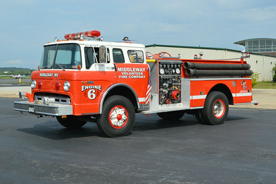 Former Engine 6 was this 1976 Ford C800/1977 Pierce, 750/300, sn- 9291-C2.  Now privately owned.  ex - West Lanham Hills, Maryland Engine 282 and 481. ex - Tower Hill #2 Fire Company, Merritstown, Pennsylvania ex - Bakerton, West Virginia.
