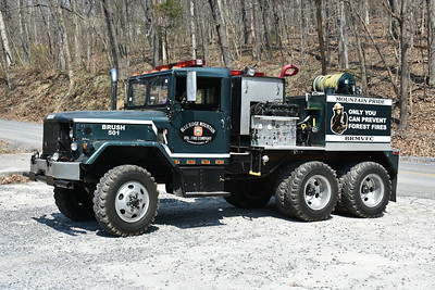 Brush 501 at Blue Ridge Mountain, WV in Jefferson County has seen service at a variety of Jefferson County WV fire stations.  It is a 1967 Kaiser M35/FD equipped with a 300/875.   It was originally a military dump truck that was purchased by Jefferson County.  It also ran at the Independent Fire Company in Charles Town as well as Bakerton FD.  In 2017, it went to Blue Ridge Mountain.