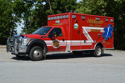 Ambulance 1-2 is a 2012 Ford F-450/Wheeled Coach.