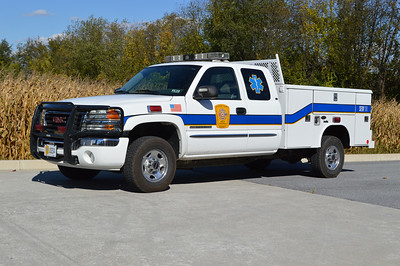 SERV 11 is a 2006 GMC 2500/Reading.  Formerly a mass casualty unit with a large box in the truck bed.