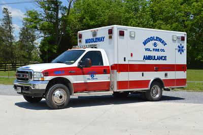 Middleway purchased this 2003 Ford F450/PL Custom in 2015 from the Charles Town, West Virginia Citizens Company.  This was Citizens first ambulance for their department.  Citizens purchased it from Middletown, VA.   It runs as Middleway Ambulance 6 and replaced a 1997 Ford F350/First Response.