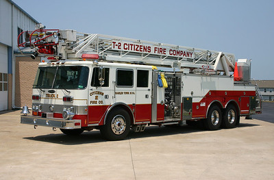 This 1991 Pierce Arrow, 1250/300, 105', sn- E6521 operates as Truck 2.  Placed out of service with the arrival of the new Smeal ladder truck.