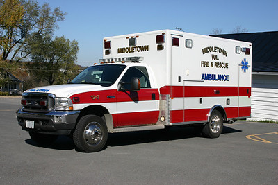 """12-2 at Middletown was this 2004 Ford F450 built by PL Custom.  It was sold in 2013 to the Charles Town """"Citizens"""" Fire Department in West Virginia where it became that department's first ambulance."""