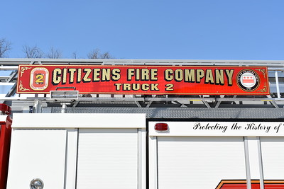 The ladder sign board on Truck 2 of Charles Town's 2016 Spartan Metro/Smeal Sirius 105'.