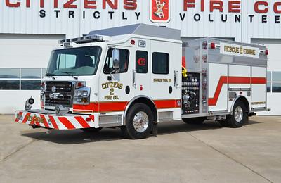 Rescue Engine 2 is this 2014 Rosenbauer Commander, 1500/750, sn- 13639.
