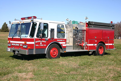 Former Engine 6-1 was a 1986 Emergency One Hurricane, 1250/750, sn- 4241.  Sold to a yacht marina in Fort Lauderdale, Florida.  ex - Lake Jackson, Virginia (Prince William County) Engine 7, painted white. ex - Shepherdstown, West Virginia