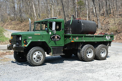 Blue Ridge Mountain, WV Brush 502 is this 1968 Kaiser Deuce 1/2 6x6/2010 Bakerton FD.  600 gallon water tank.  The tank was received from the Forestry Department and purchased by Bakerton FD in 2010.  Bakerton originally put this brush truck together, and then sold it to Blue Ridge Mountain in 2014 when Blue Ridge Mountain sold their 1994 FL/4-Guys tanker to Bakerton.