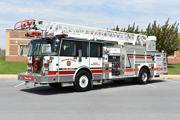 """Photographed in May of 2018 just one day after the members of Blue Ridge Mountain VFC took delivery of their """"new"""" ladder truck.  Truck 5 from Jefferson County, WV is a 1996 Spartan/Smeal 75' with a 1250/275.  It was repainted in 2018 by Adkins Automotive and was originally delivered to Denver, Colorado where it ran as Truck 25 and Truck 23."""