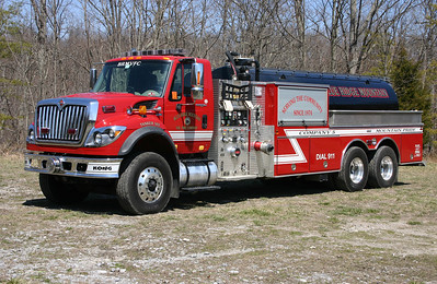 "Tanker 502 (""Water Kong"") is a 2009 International 7600 WorkStar/Firovac, 1000/3500, sn- PA2440."