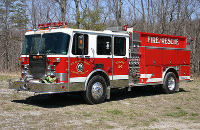Engine 5-1 is a 1989 Spartan Gladiator/Emergency One, 1250/750, sn- 7308.  Out of service in 2018 with motor problems.  ex - Glyndon, Maryland.