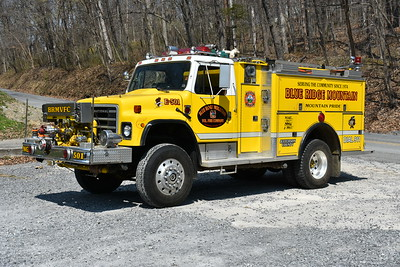 Blue Ridge Mountain, WV in Jefferson County - Engine 501 is a 1982 International 1854 4x4/3D Metals equipped with a front mount 750/500.  3D serial number 1475.  Originally delivered to Owings Mills, Maryland in Baltimore County.  It was then sold to the Pleasant Valley Community VFC in Carrol County, Maryland (ran as Water Supply 62)  in 1993.  It was sold/donated to Cainey Branch Tennessee and ultimately purchased by Blue Ridge Mountain in 2017.  When this photograph was taken in April of 2018, Engine 501 was for sale.