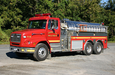 The previous photograph of Tanker 16 was taken shortly after delivery in 2000.  This photograph was taken in September of 2013.  Tanker 616 is expected to be replaced towards the beginning of 2014 when the new FS 26 opens and replaces FS 16 in Neersville. 2015 - donated to the Blue Ridge Mountain Volunteer Fire Department in Jefferson County, West Virginia.