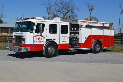 Rescue Engine 6 from Middleway, WV is a 1995 E-One Cyclone that was painted (and some minor body work) in 2016 by Hagerstown Spring & Alignment.  1500/750 with E-One serial number 15596.  This engine was purchased from West Grove, PA in May of 2016.  Rescue Engine 6 replaced two of Middleway's fire trucks - a 1991 KME engine and a 1989 Ford F800/E-One rescue squad.